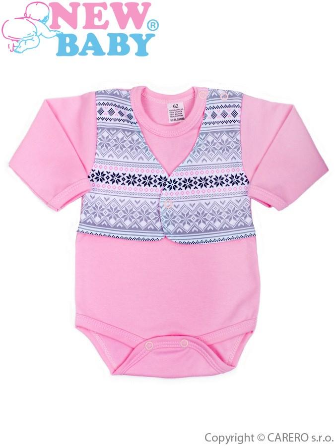 Dojčenské body s dlhým rukávom New Baby Etnik ružové