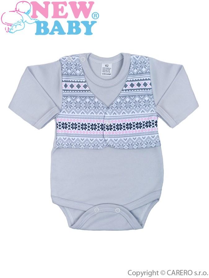 Dojčenské body s dlhým rukávom New Baby Etnik sivo-ružové