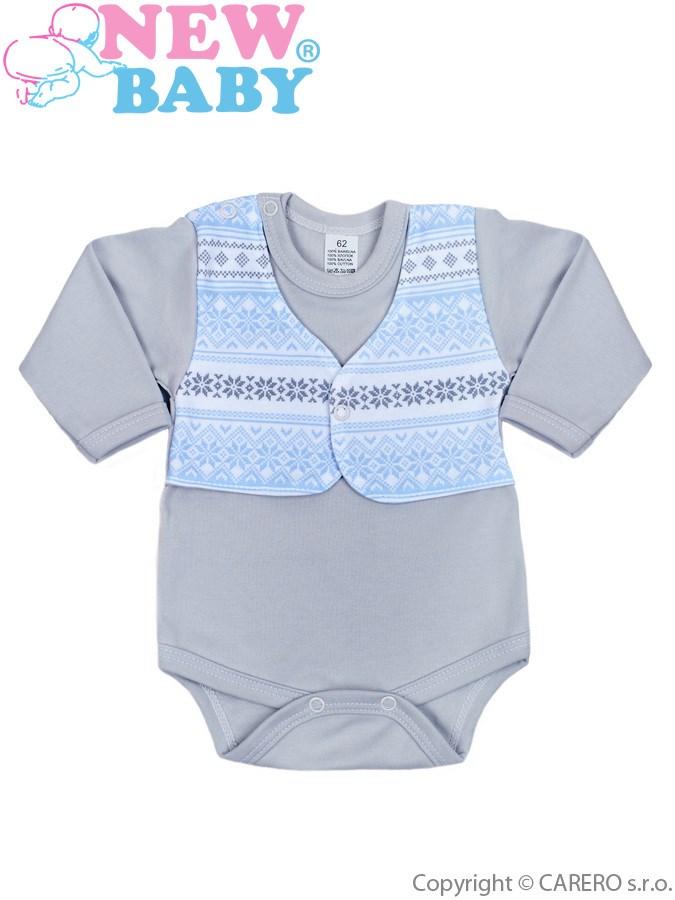 Dojčenské body s dlhým rukávom New Baby Etnik sivo-modré
