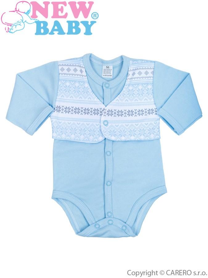 Dojčenské body celorozopínacie  New Baby Etnik modré