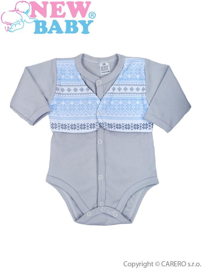 Dojčenské body celorozopínací  New Baby Etnik sivo-modré