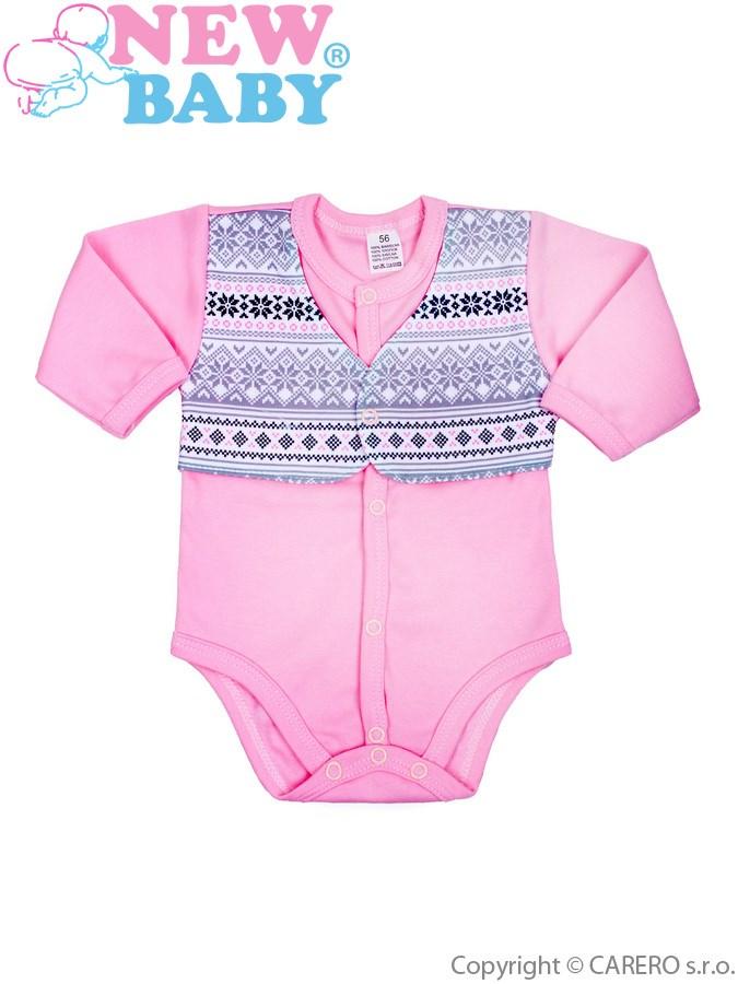Dojčenské body celorozopínacie  New Baby Etnik ružové