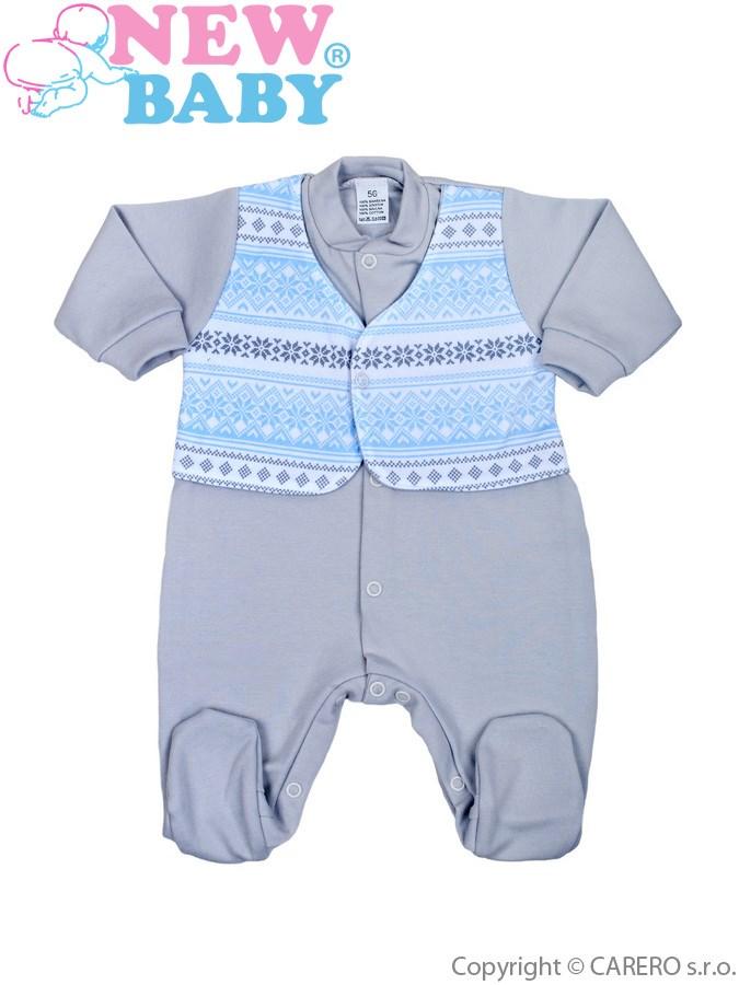 Dojčenský overal New Baby Etnik sivo-modrý