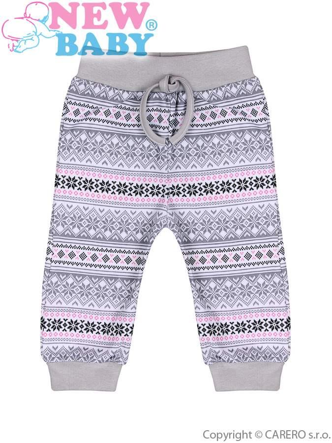 Dojčenské bavlnené tepláčiky New Baby Etnik sivo-ružové