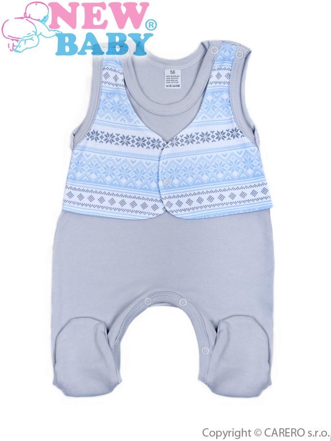 Dojčenské dupačky New Baby Etnik sivo-modré