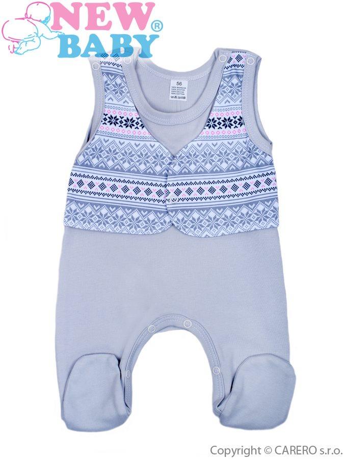 Dojčenské dupačky New Baby Etnik sivo-ružové