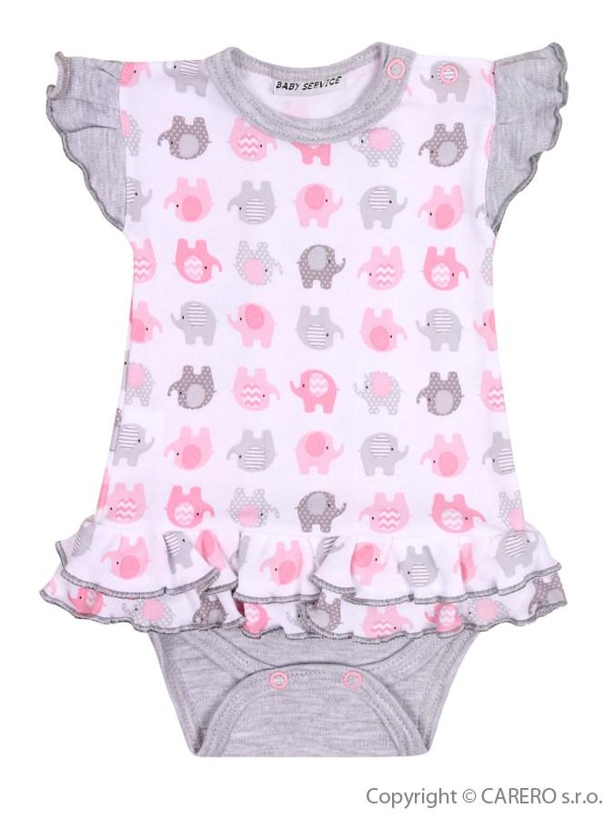 Dojčenské body so sukienkou Baby Service Sloníki bielo-ružové