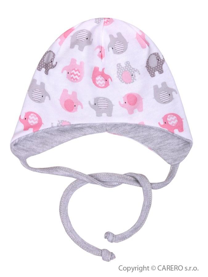 Dojčenská čiapočka Baby Service Sloníki bielo-ružová