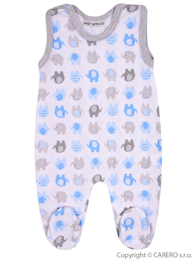 Dojčenské dupačky Baby Service Sloníki bielo-modré