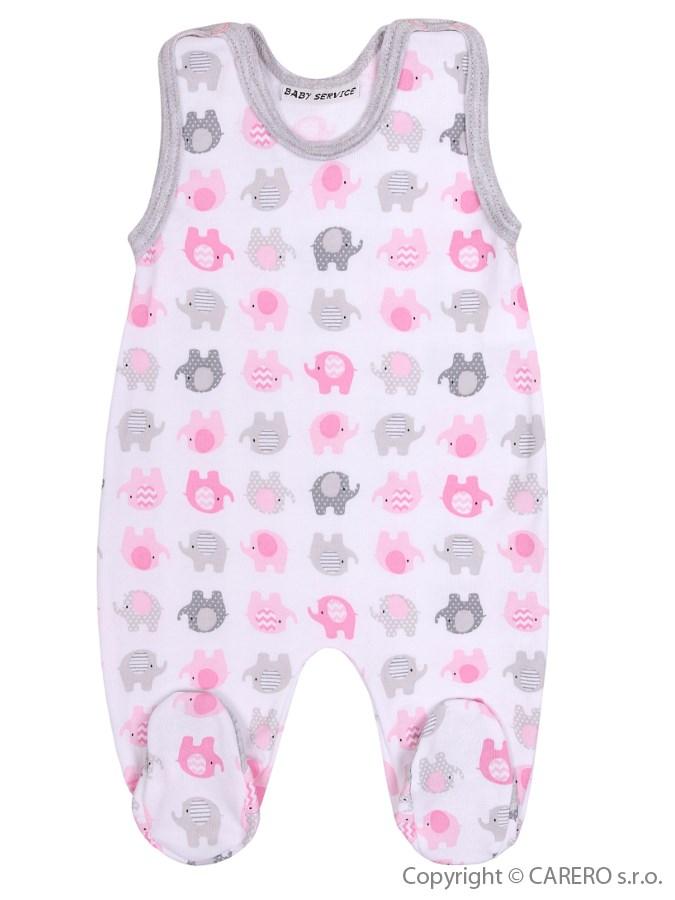 Dojčenské dupačky Baby Service Sloníki bielo-ružové