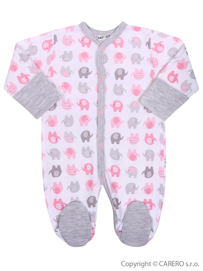 Dojčenský overal Baby Service Sloníki bielo-ružový