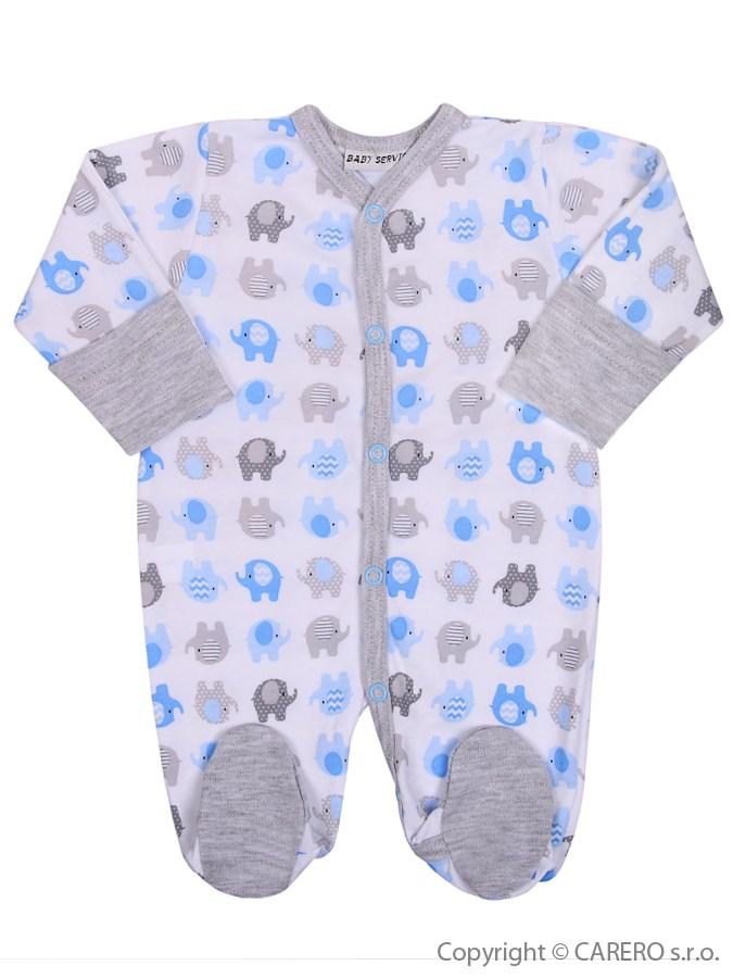 Dojčenský overal Baby Service Sloníki bielo-modrý