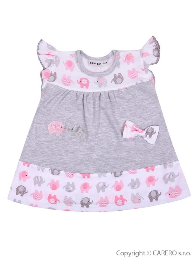 Detské šatôčky Baby Service Sloníki bielo-ružové