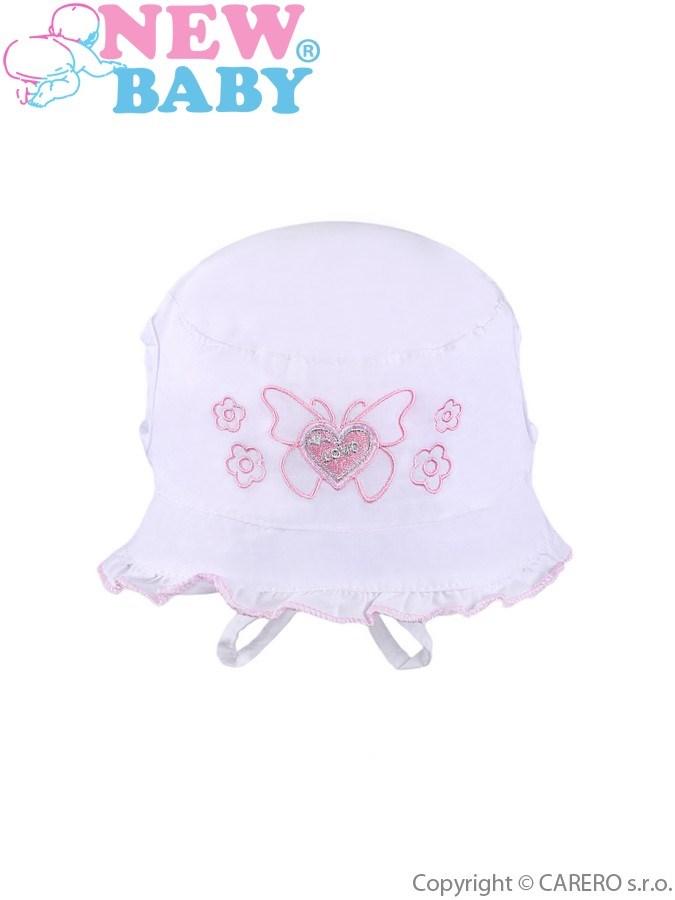 Letný detský klobúčik New Baby Sweet Butterfly biely