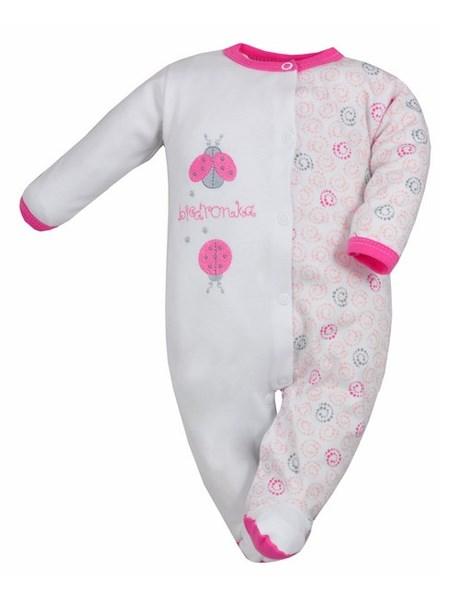 Dojčenský overal Bobas Fashion Beti II ružový s lienkami