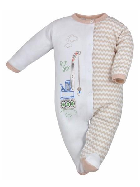 Dojčenský overal Bobas Fashion Beti II bežový so žeriavom