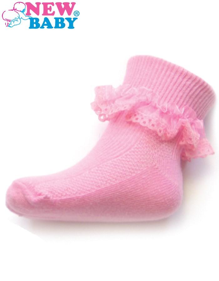 Dojčenské bavlnené ponožky s čipkovaným volánikom New Baby tmavo ružové