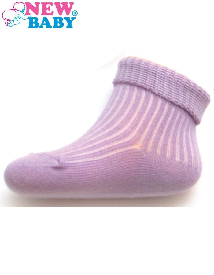 Dojčenské pruhované ponožky New Baby fialové