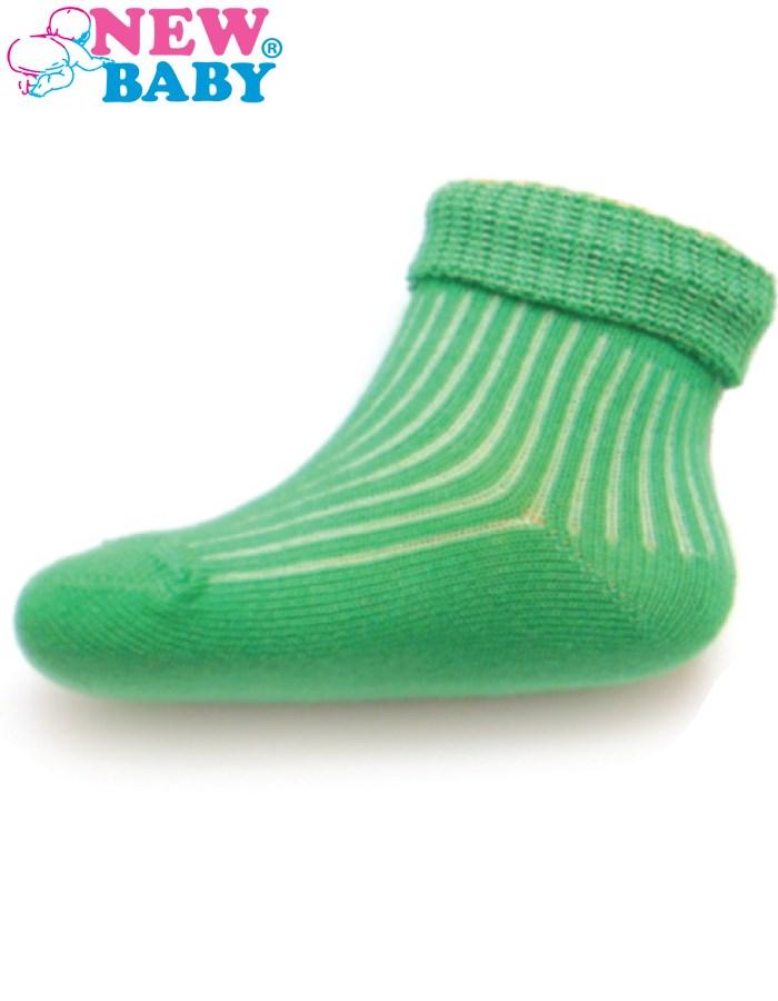 Dojčenské pruhované ponožky New Baby zelené