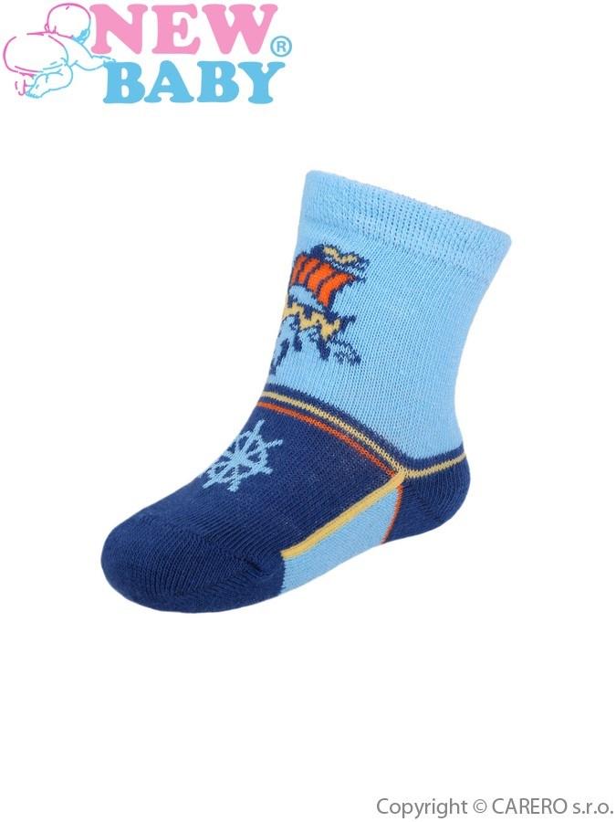 Dojčenské bavlnené ponožky New Baby modré s loďou