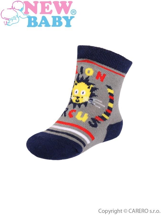 Dojčenské bavlnené ponožky New Baby sivo-modré circus