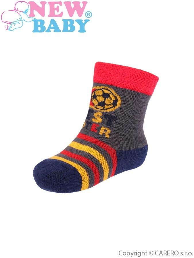 Dojčenské bavlnené ponožky New Baby šedo-červené best shooter