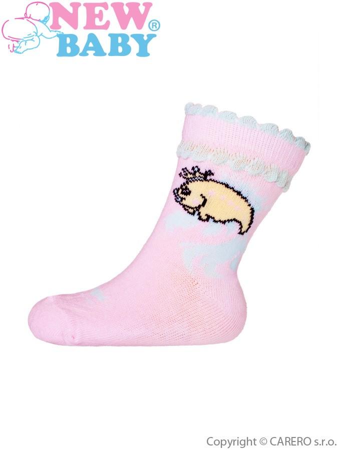 Dojčenské bavlnené ponožky New Baby žlté dino