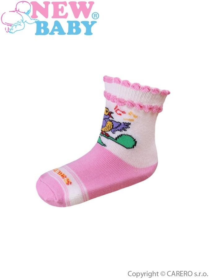 Dojčenské bavlnené ponožky New Baby bielo-ružové s vtáčikom