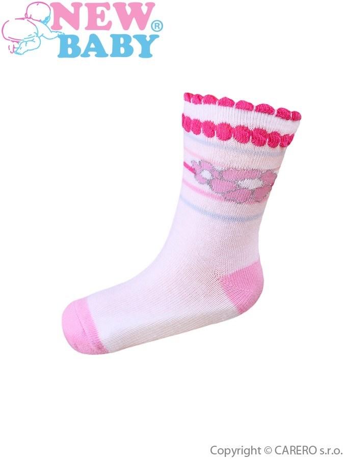 Dojčenské bavlnené ponožky New Baby biele s kvetinkou