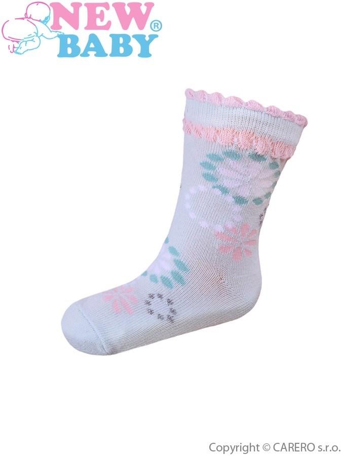 Dojčenské bavlnené ponožky New Baby tyrkysové s kvetinkou