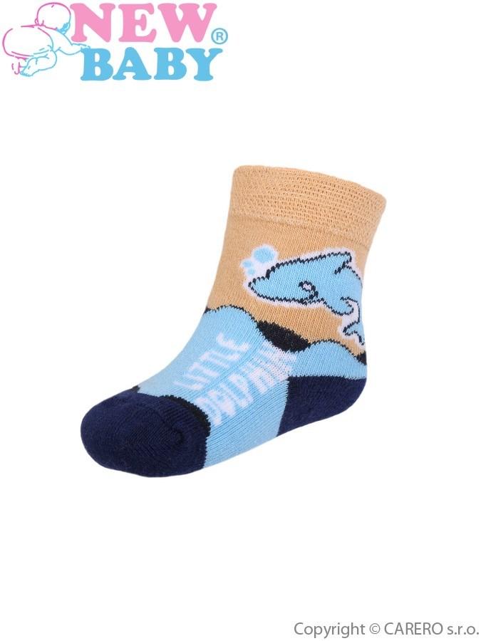Dojčenské bavlnené ponožky New Baby modro-hnedé s delfínom