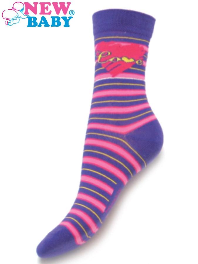 Detské bavlnené ponožky New Baby fialové s pruhmi love