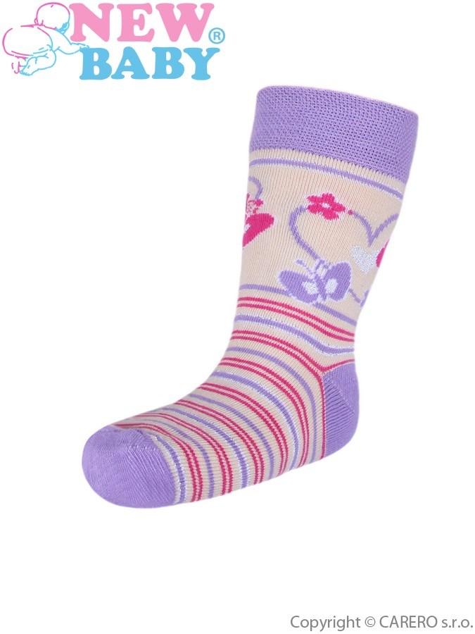 Detské bavlnené ponožky New Baby fialovo-bežové s pruhmi
