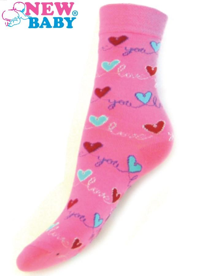 Detské bavlnené ponožky New Baby ružové love you