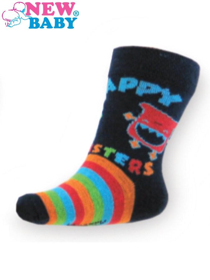 Detské bavlnené ponožky New Baby tmavo modré happy monster