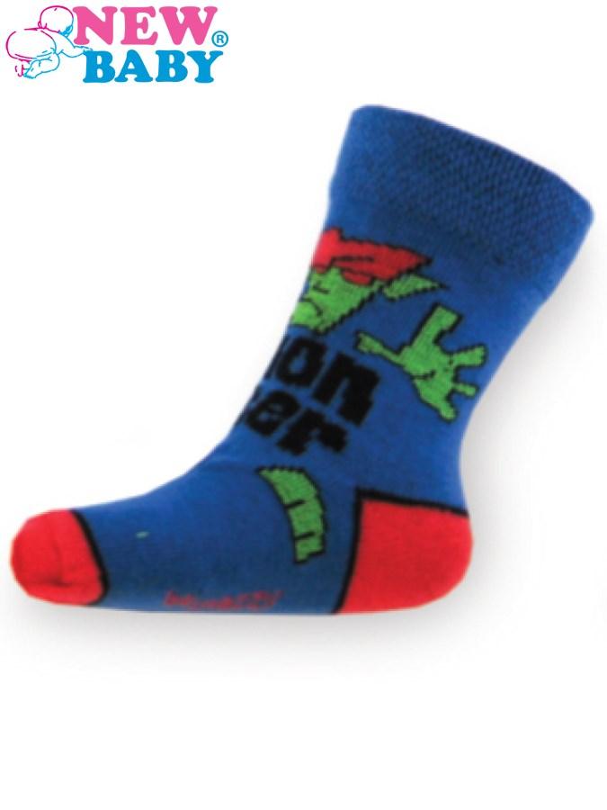 Detské bavlnené ponožky New Baby modré monster