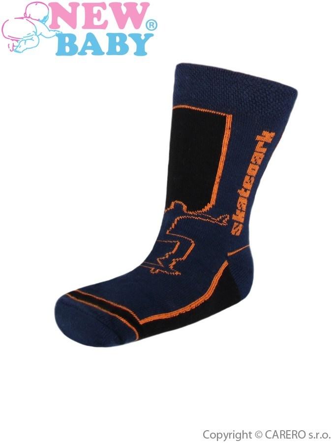 Detské bavlnené ponožky New Baby tmavo modré skatepark