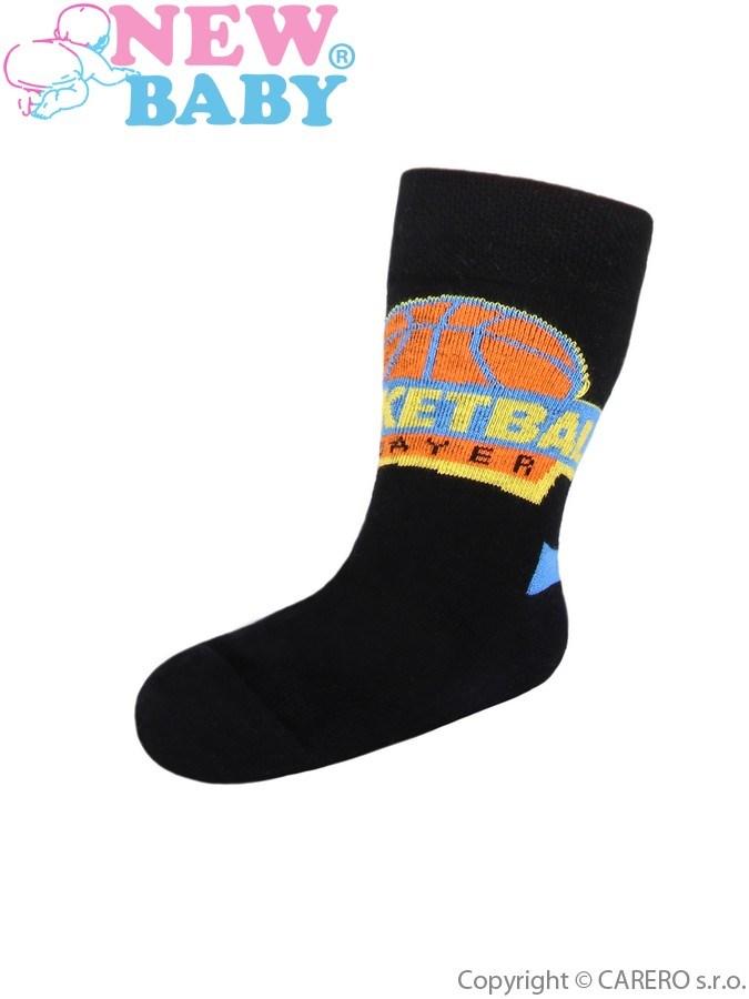 Detské bavlnené ponožky New Baby čierne basketball