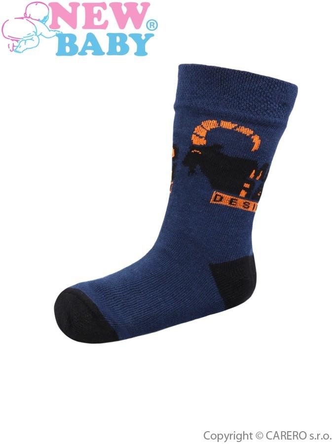 Detské bavlnené ponožky New Baby tmavo modré design