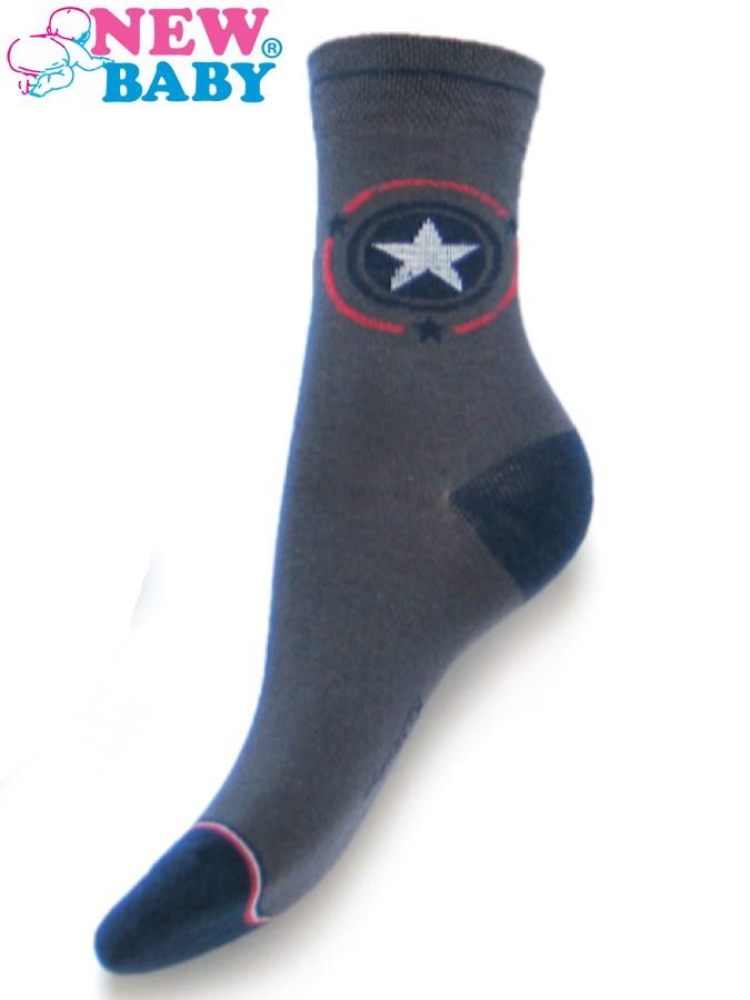 Detské bavlnené ponožky New Baby sivé s hviezdičkou