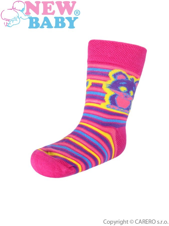 Detské bavlnené ponožky New Baby ružové s pruhmi a mačičkou