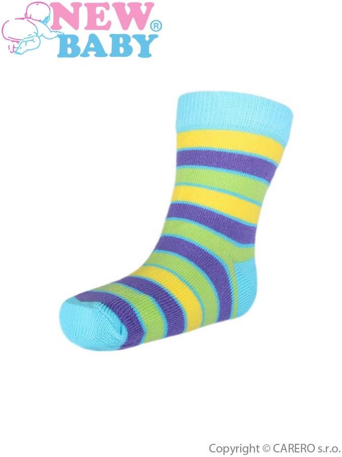 Detské ponožky New Baby s širokým pruhom žlto-fialové