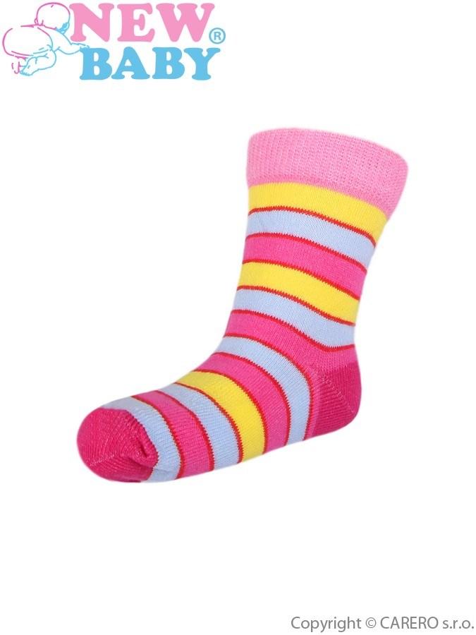 Detské ponožky New Baby s širokým pruhom žlto-ružové