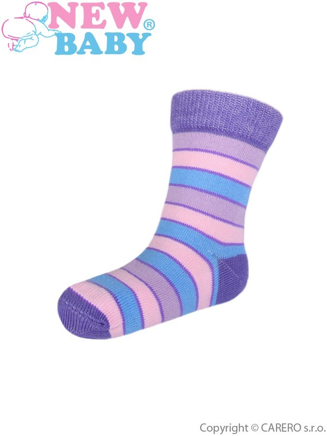 Detské ponožky New Baby s širokým pruhom fialovo-ružové