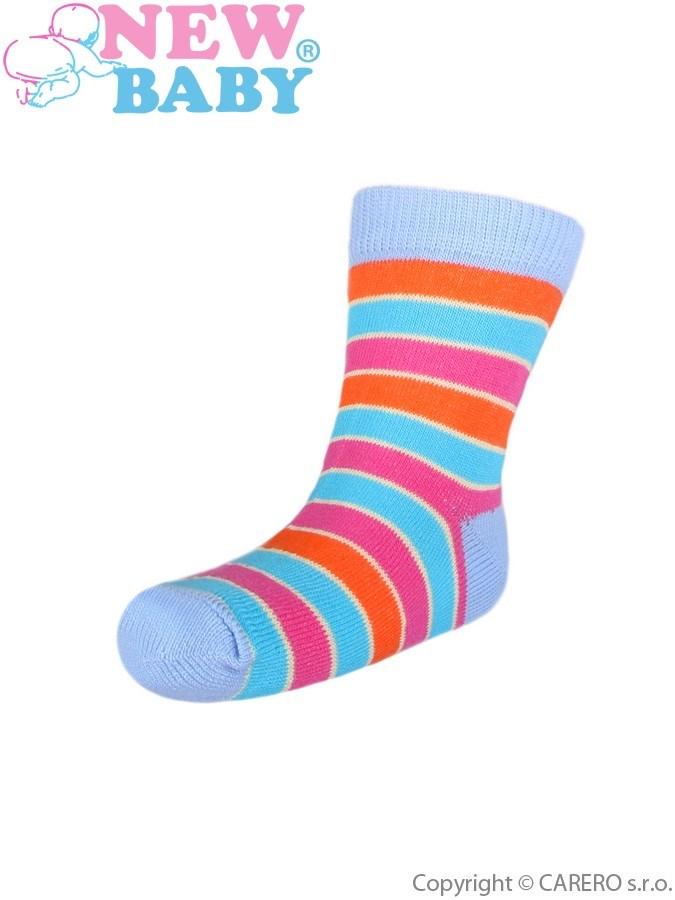 Detské ponožky New Baby s širokým pruhom oranžovo-modré