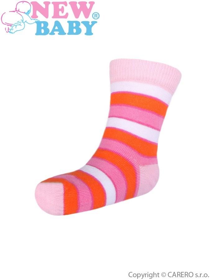 Detské ponožky New Baby s širokým pruhom bielo-ružové