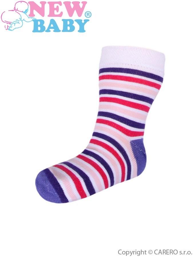 Detské pruhované ponožky New Baby bielo-ružovo-fialové