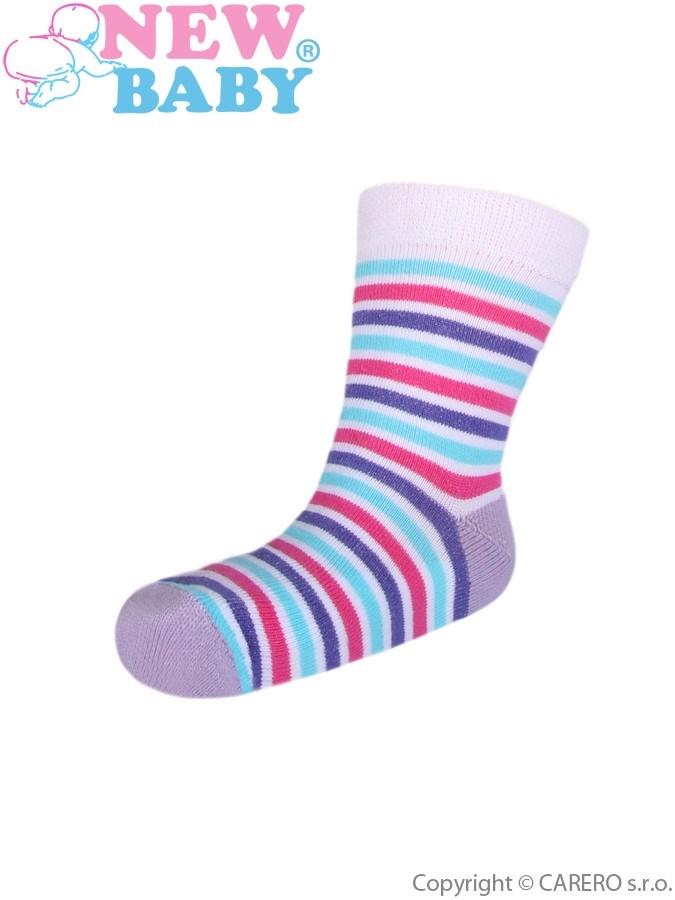 Detské pruhované ponožky New Baby bielo-ružovo-tyrkysové