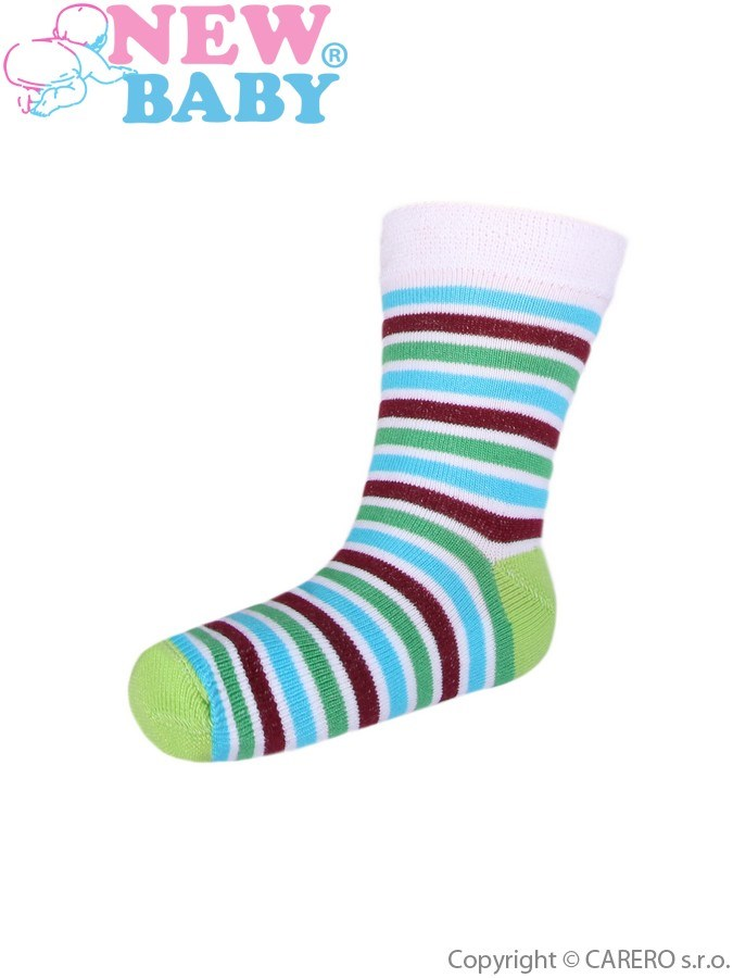 Detské pruhované ponožky New Baby zeleno-hnedé