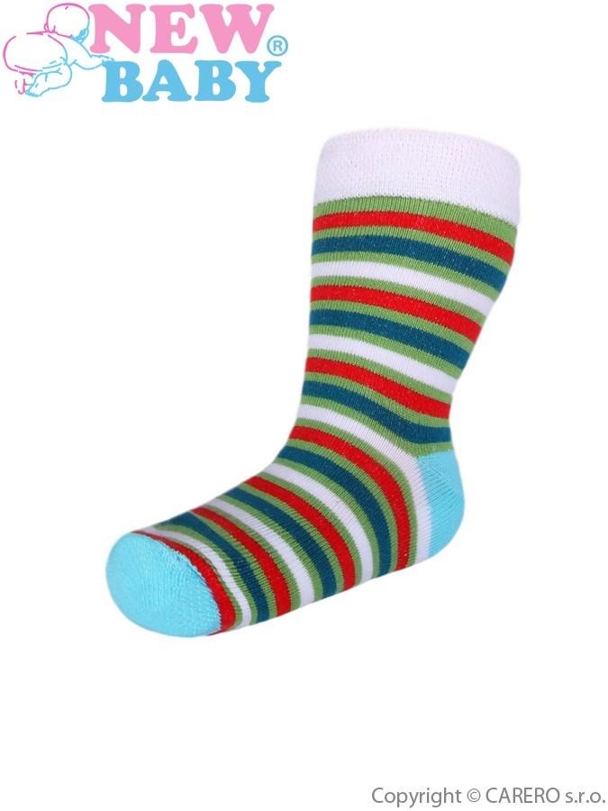 Detské pruhované ponožky New Baby zeleno-červené